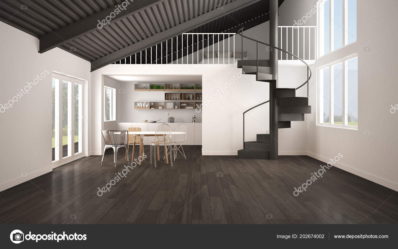 Minimalistische Freifläche Weißen Und Grauen Küche Mit Mezzanine Und ...