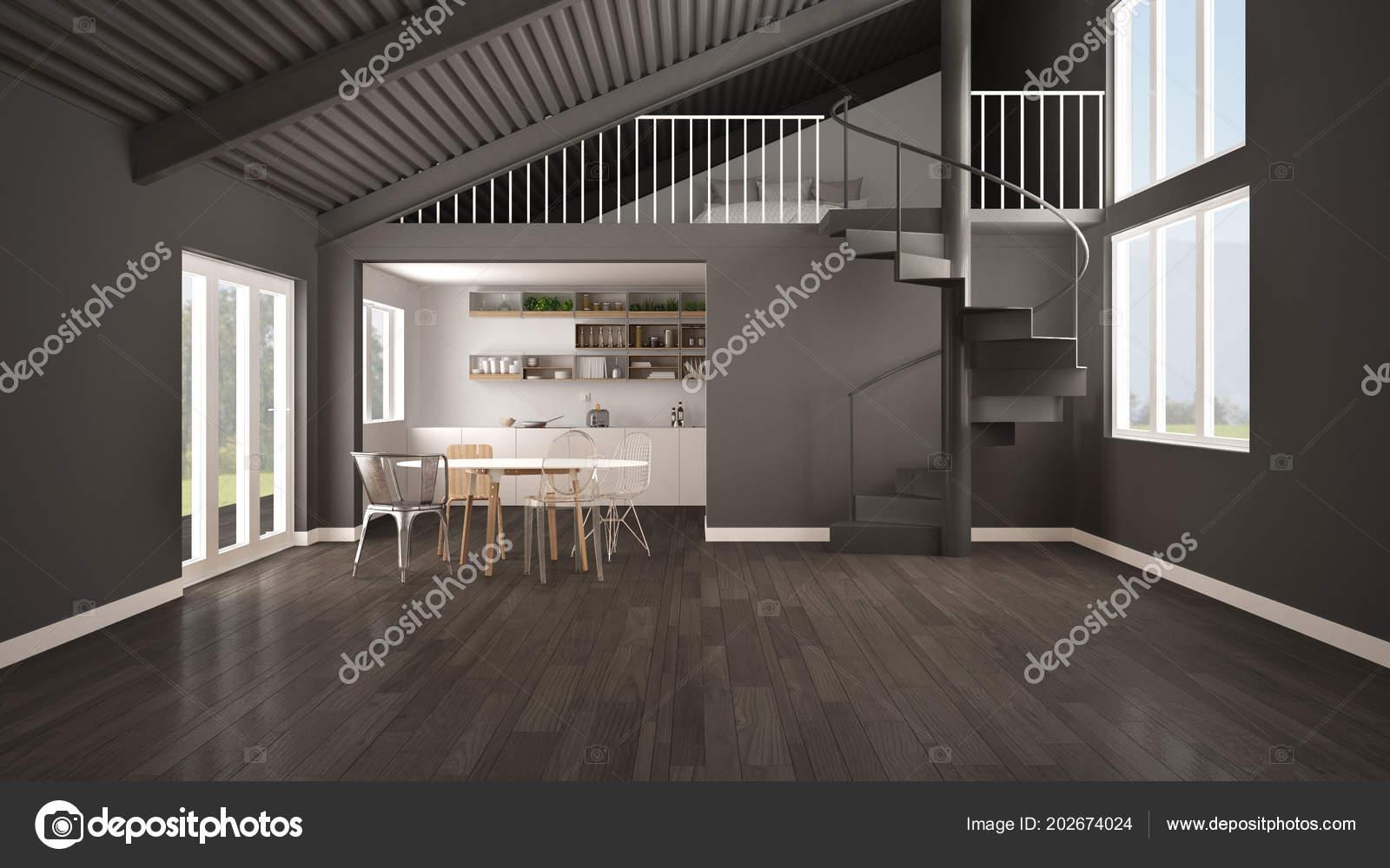 Minimalistyczny Otwartej Przestrzeni Biało Szara Kuchnia