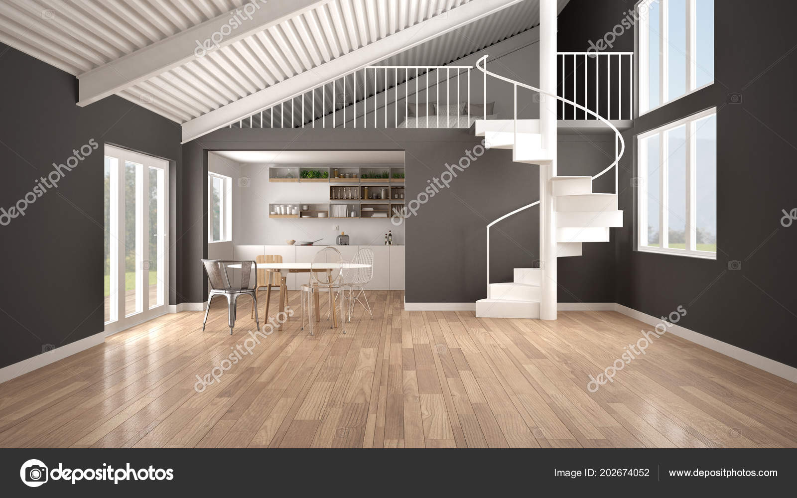 Minimalistische Freifläche Weißen Und Grauen Küche Mit ...