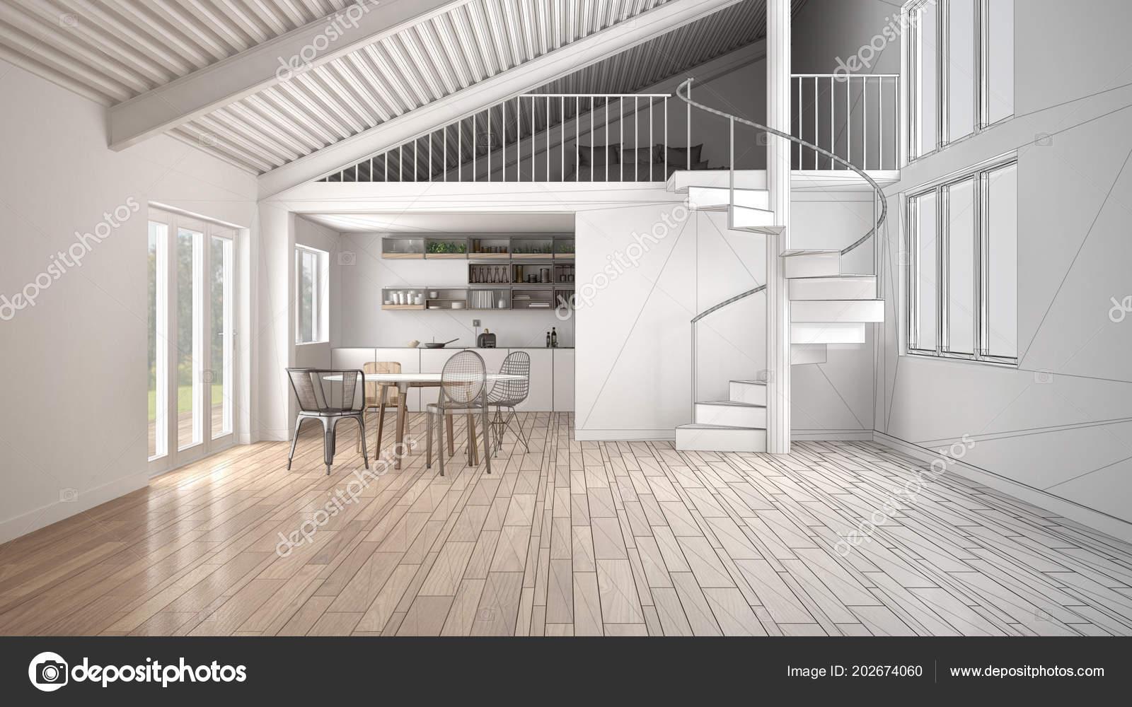 Unvollendete Projekt Der Minimalistischen Freifläche Weiße Küche Mit ...