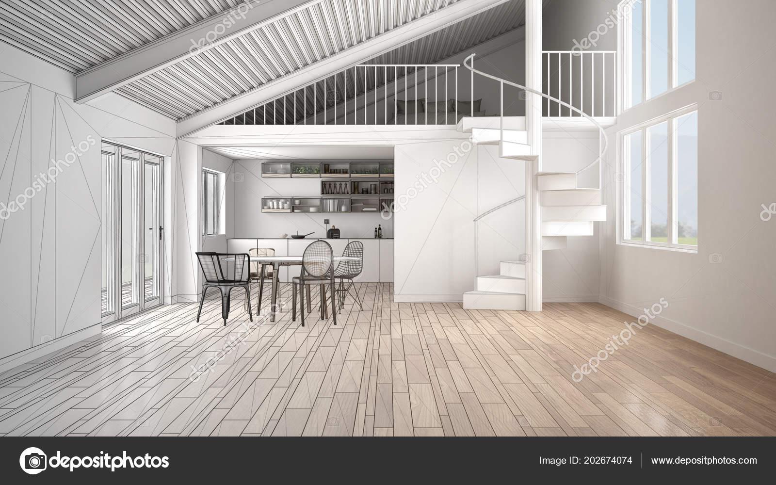 Onvoltooide project van minimalistische open ruimte witte keuken