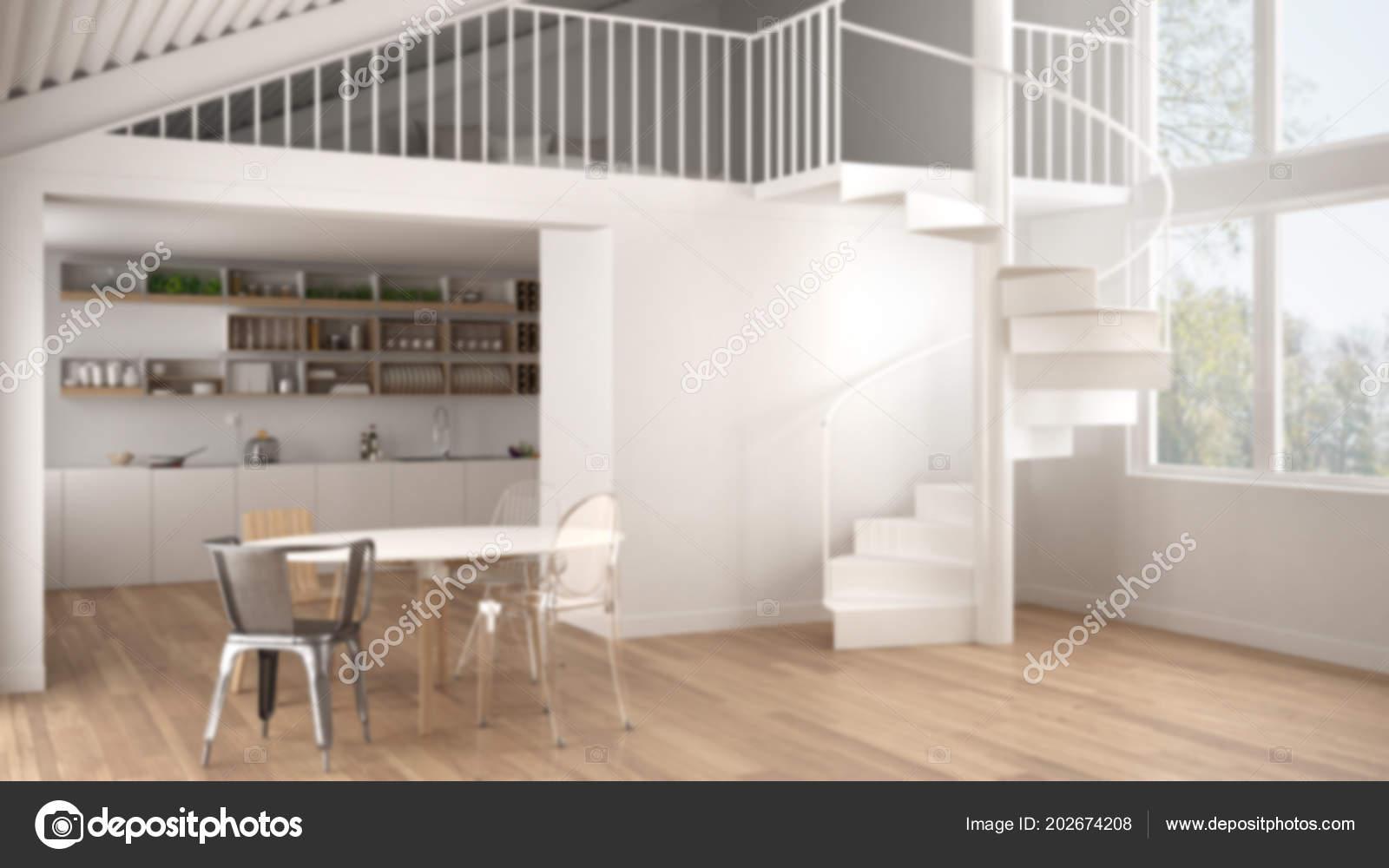 Hintergrund Minimalistische Weiße Küche Mit Mezzanine Und Moderne ...