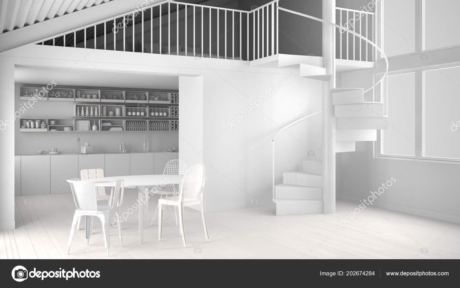 Progettazione Scale A Chiocciola : Totale progetto bianco cucina minimalista bianco con soppalco