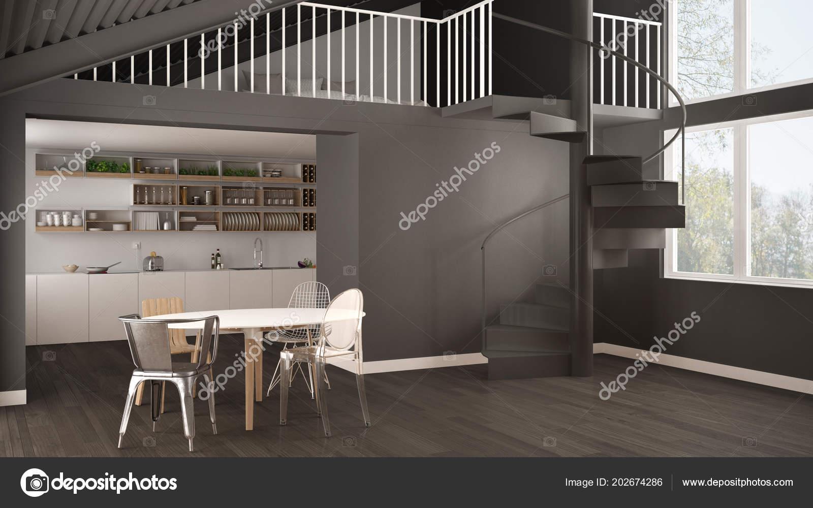 Minimalistischen Weißen Und Grauen Küche Mit Mezzanine Und Moderne ...