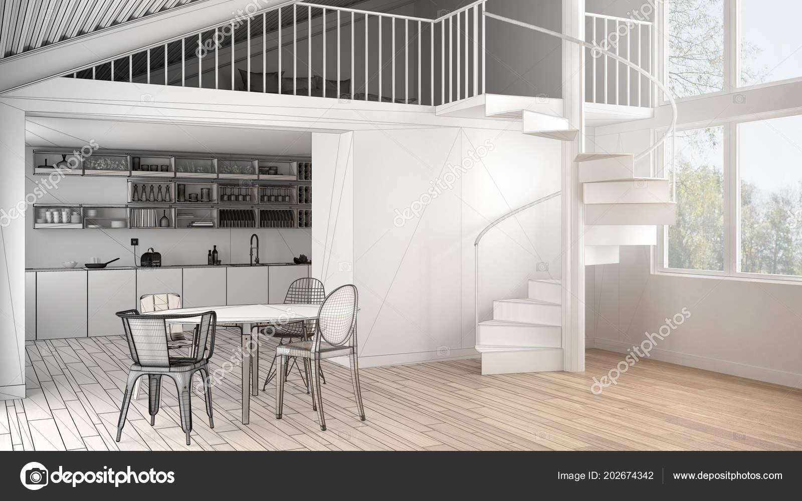 Unvollendete Projekt Der Minimalistische Weiße Küche Mit Mezzanine ...