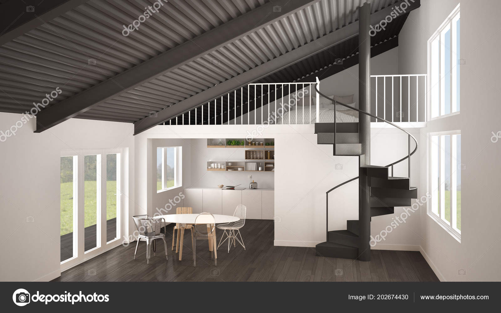 Minimalist White Gray Kitchen Mezzanine Modern Spiral Staircase Loft  Bedroom U2014 Stockfoto