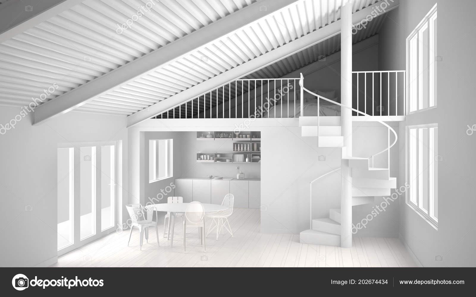 Total Weiße Projekt Minimalistische Weiße Küche Mit Mezzanine Und ...