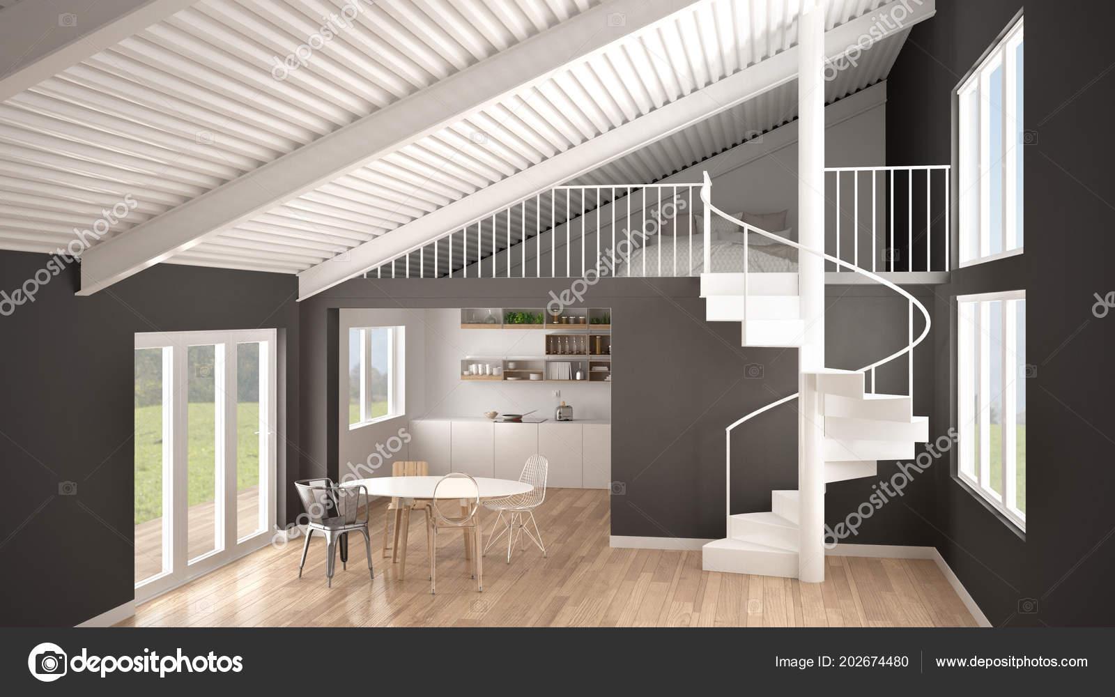 Minimalistischen Weißen Und Grauen Küche Mit Mezzanine Und Moderne  Wendeltreppe, Galerie Mit Schlafzimmer, Konzept Innenraum  Design Hintergrund, ...