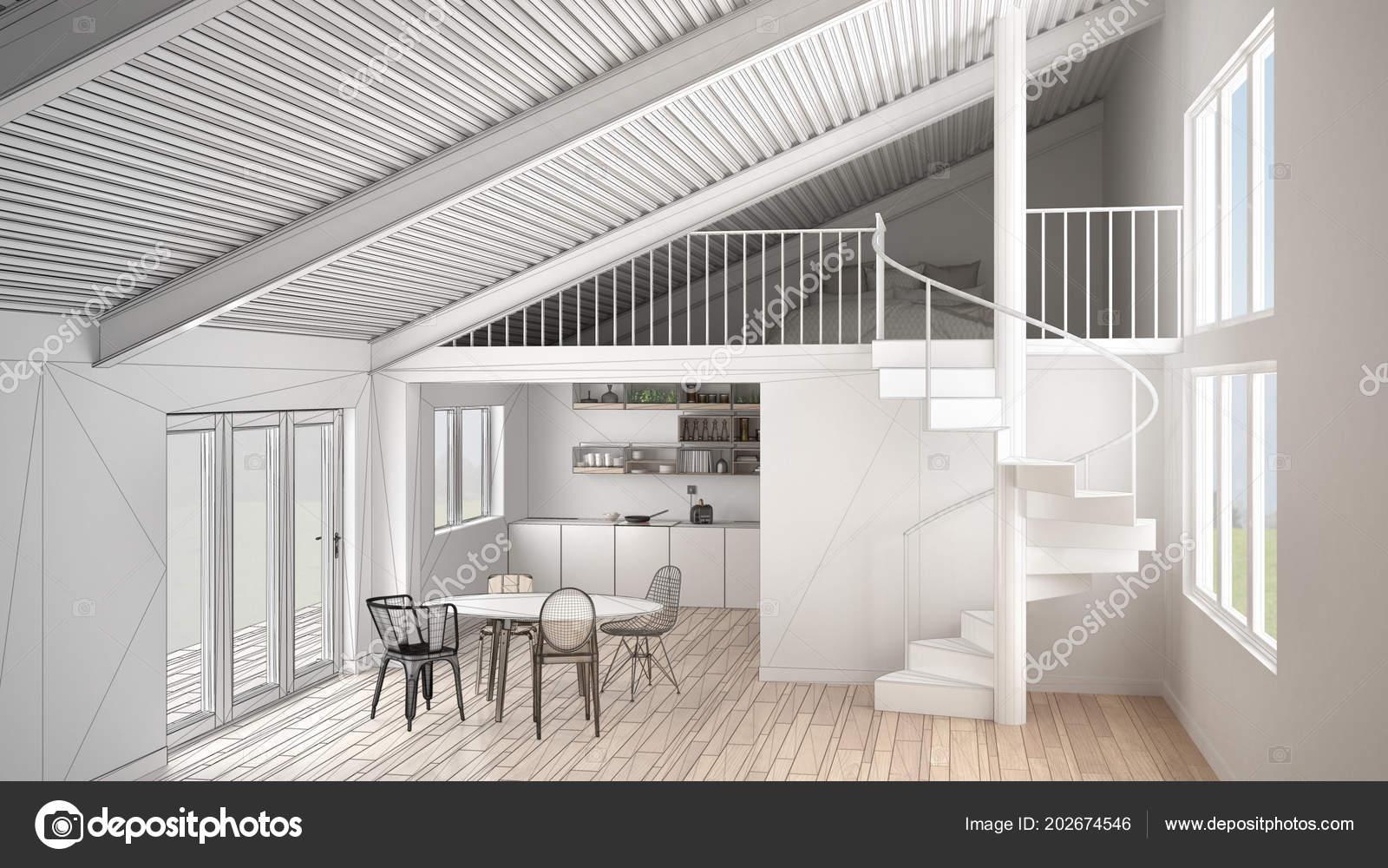 Onvoltooide project van minimalistische witte keuken met mezzanine