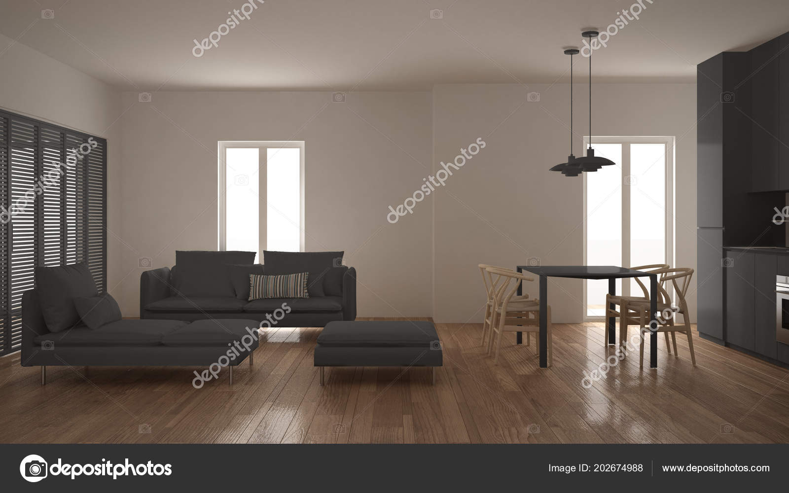 Moderne Saubere Wohnzimmer Mit Kuche Und Esstisch Sofa Sessel Und