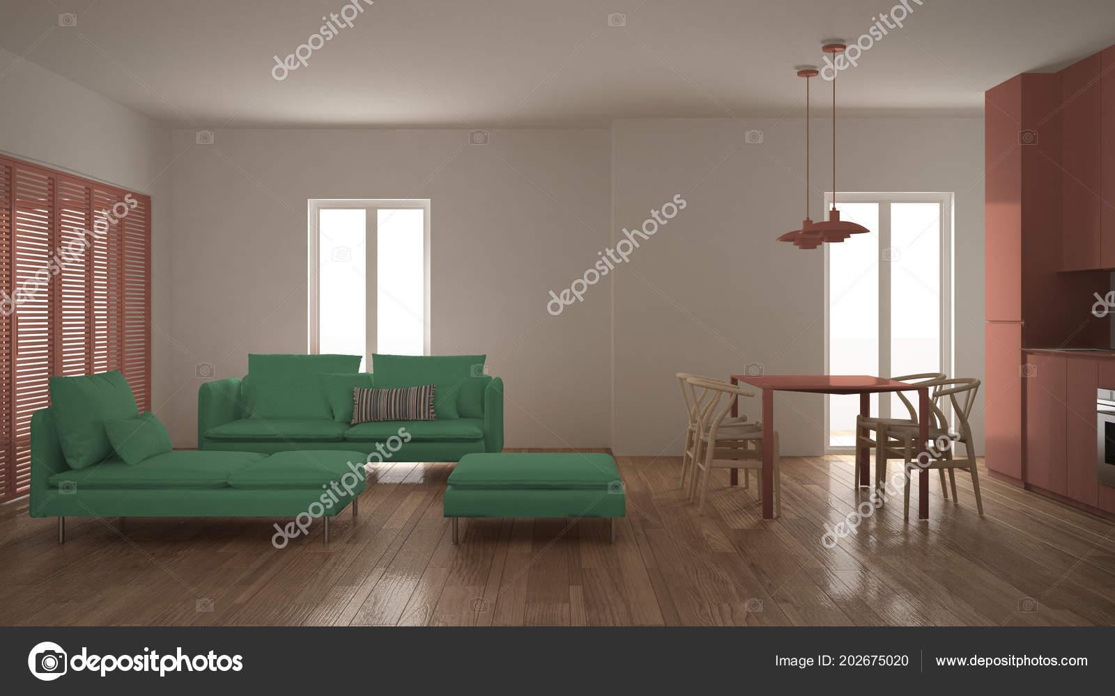 Salone moderno pulito con cucina tavolo pranzo divano pouf chaise