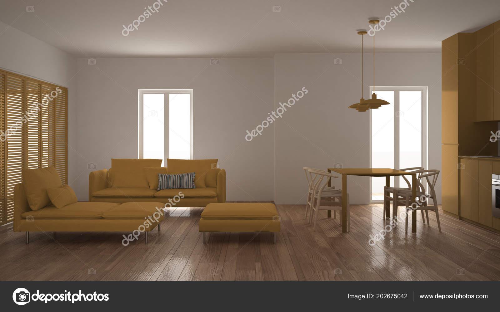 Moderne schone woonkamer met keuken eettafel bank poef chaise