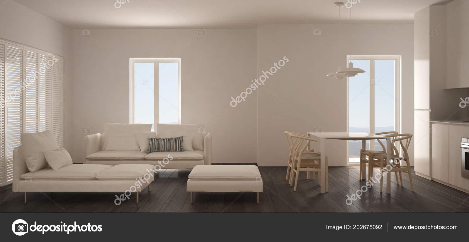Minimalist Scandinavian Living Room Kitchen Dining Table