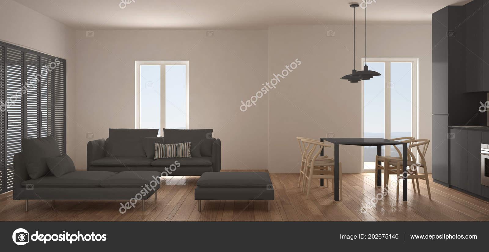 Minimalistische scandinavische woonkamer met keuken eettafel bank