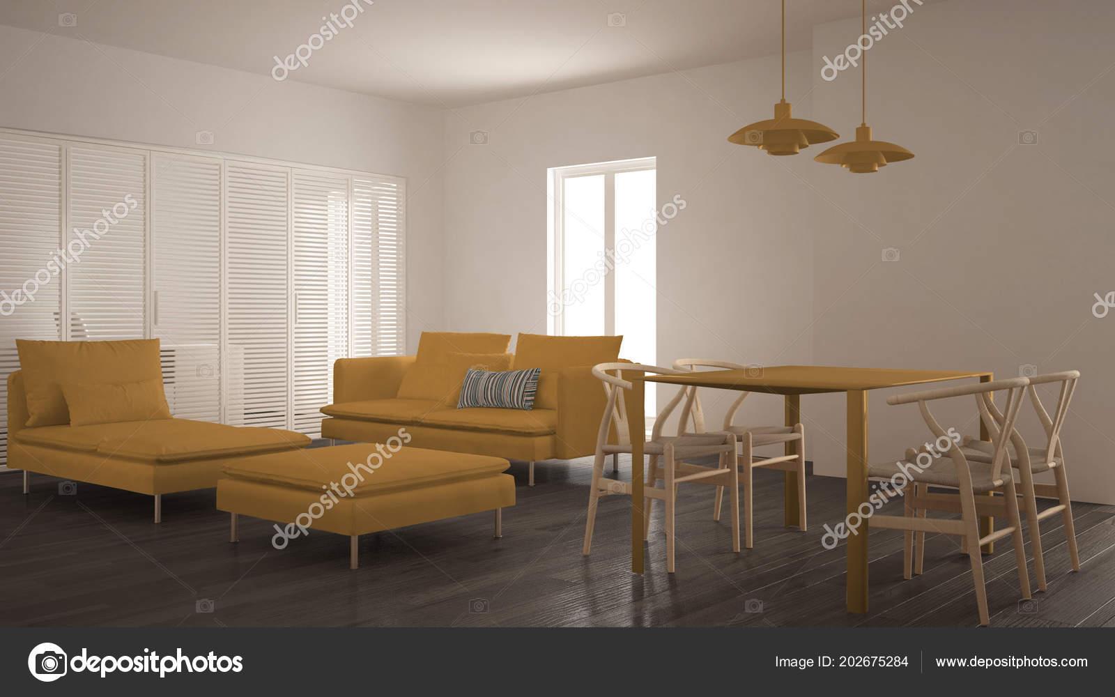 Moderne Saubere Wohnzimmer Mit Schiebetür Und Esstisch Sofa ...