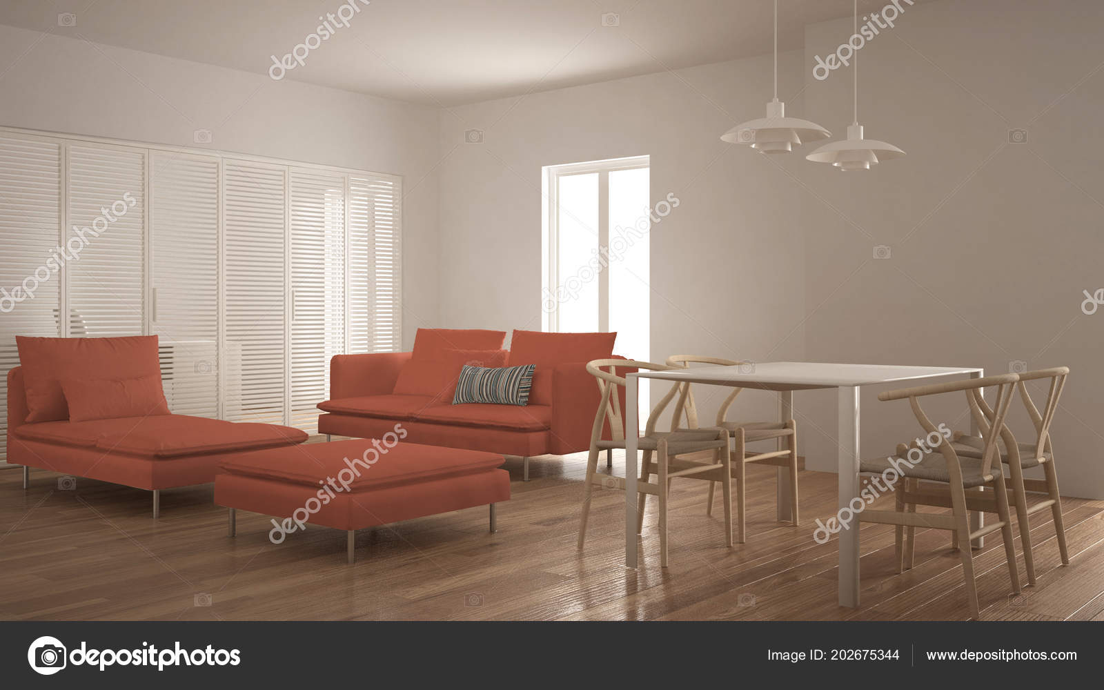 Modern Clean Living Room Sliding Door Dining Table Sofa Pouf Stock