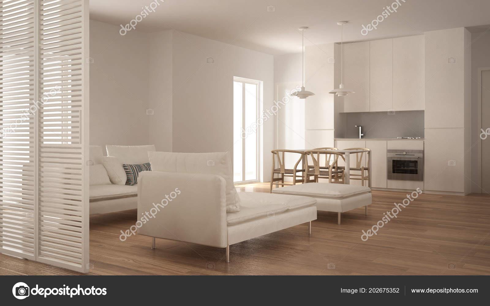 Moderne schone woonkamer met keuken eettafel bank poef chaise longue