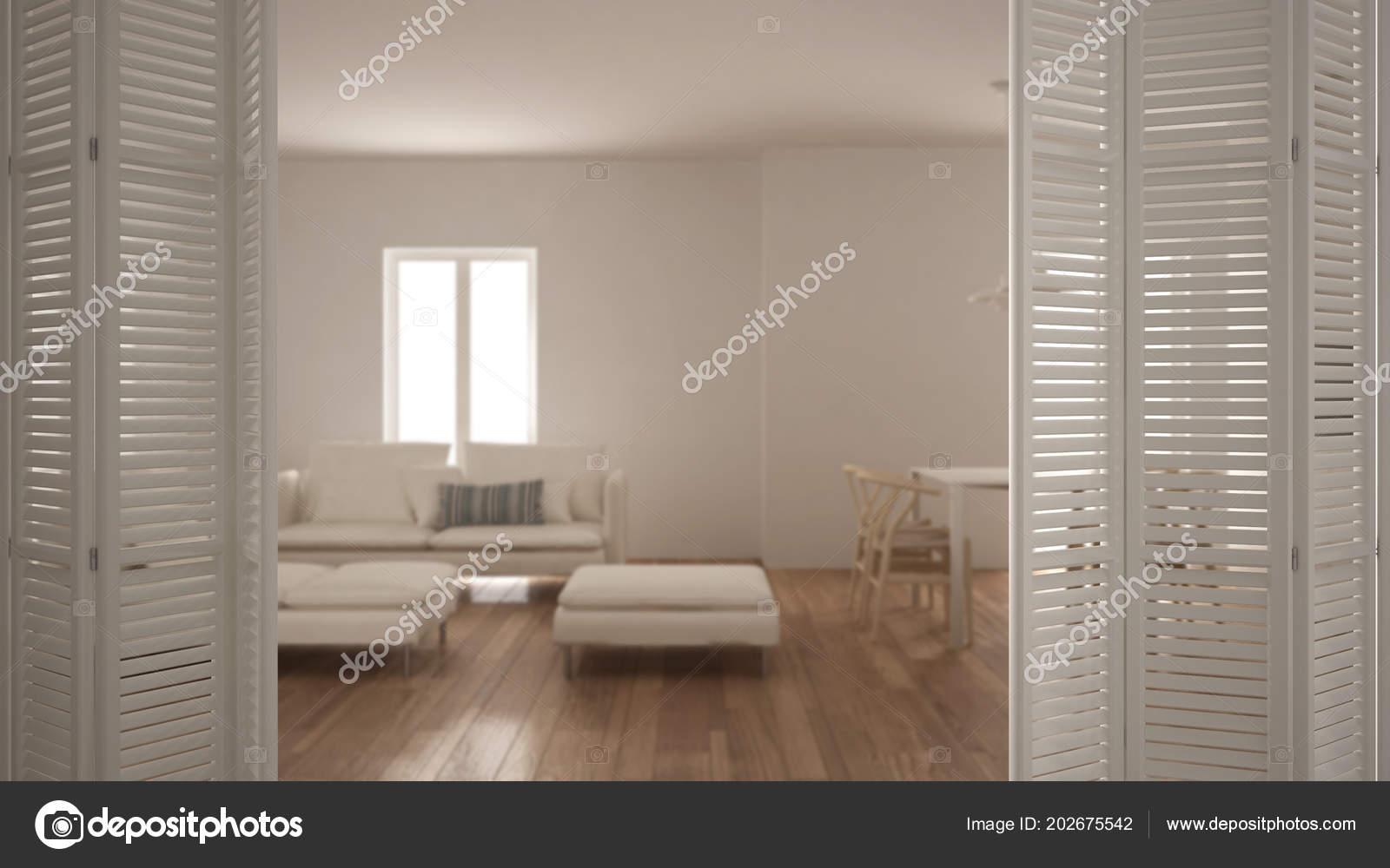 Blanco Puerta Plegable Apertura Moderna Sala Estar Con ...