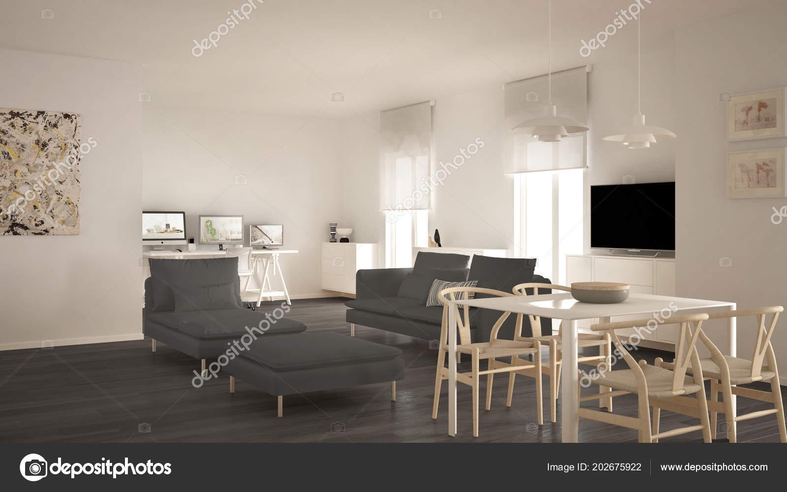 Salon Contemporain Scandinave Espace Ouvert Avec Table ...