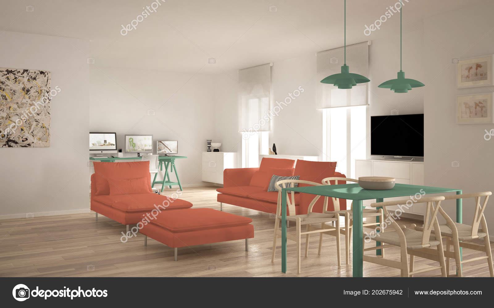 Skandinavische Zeitgenössische Wohnzimmer Offener Raum Mit Esstisch