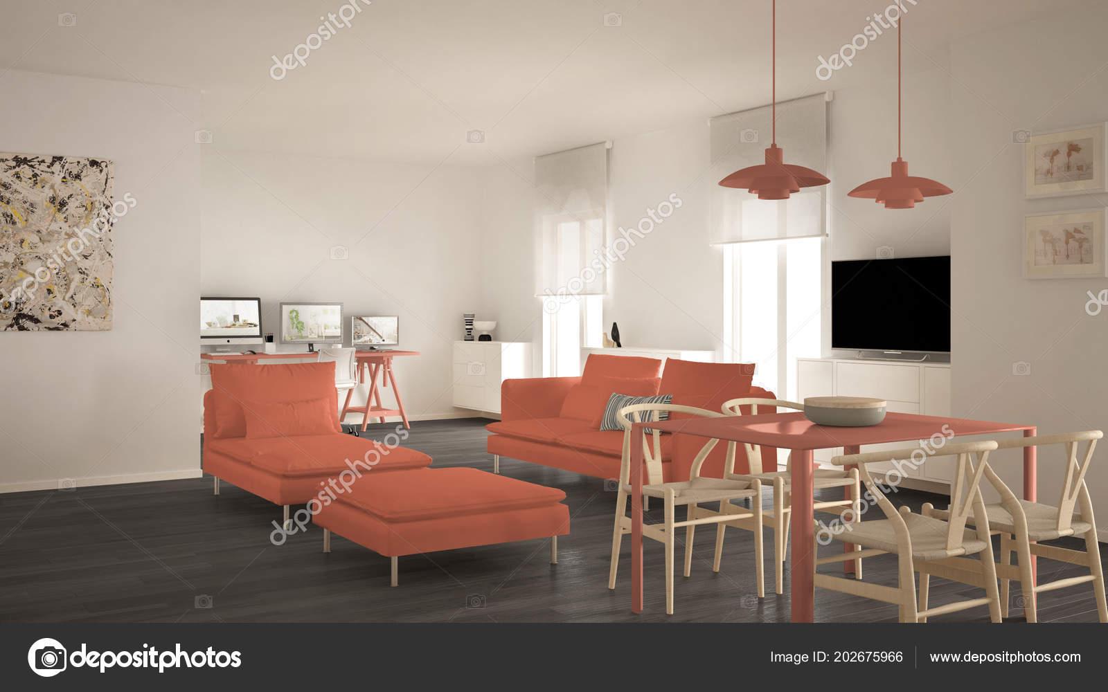 Espace Ouvert Salon Contemporain Scandinave Avec Table ...