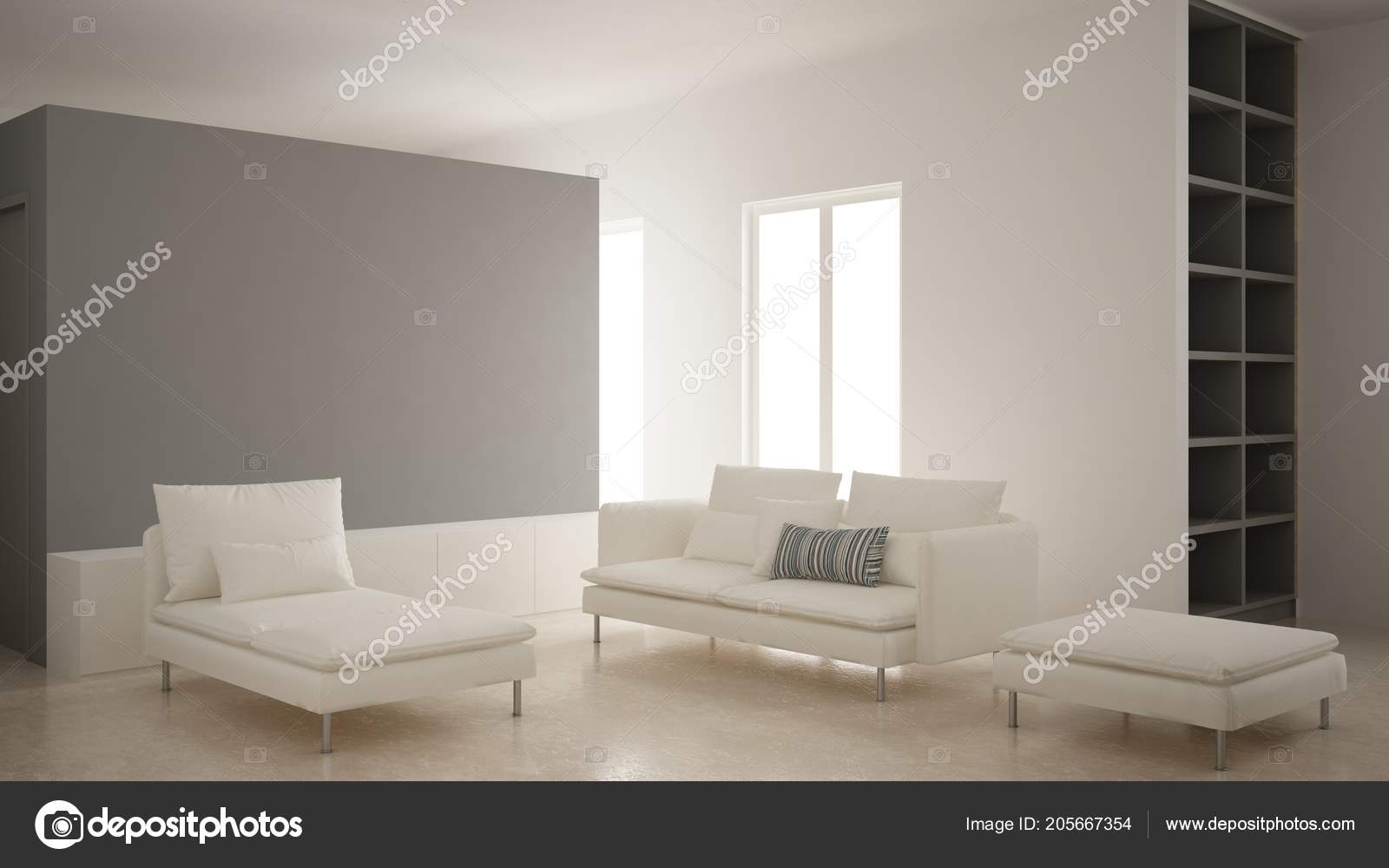 Minimalism Modern Living Room Gray Plaster Wall Sofa Chaise Longue Stock Photo C Archiviz 205667354