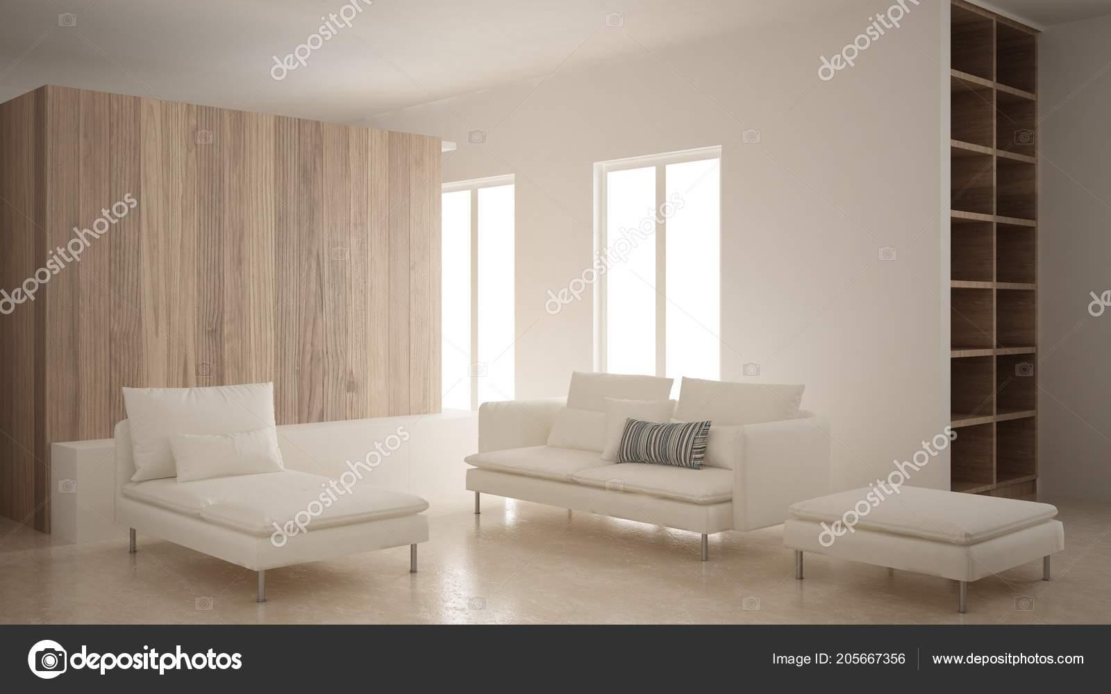 Minimalismus Modernes Wohnzimmer Mit Sofa Chaiselongue Und Hocker ...