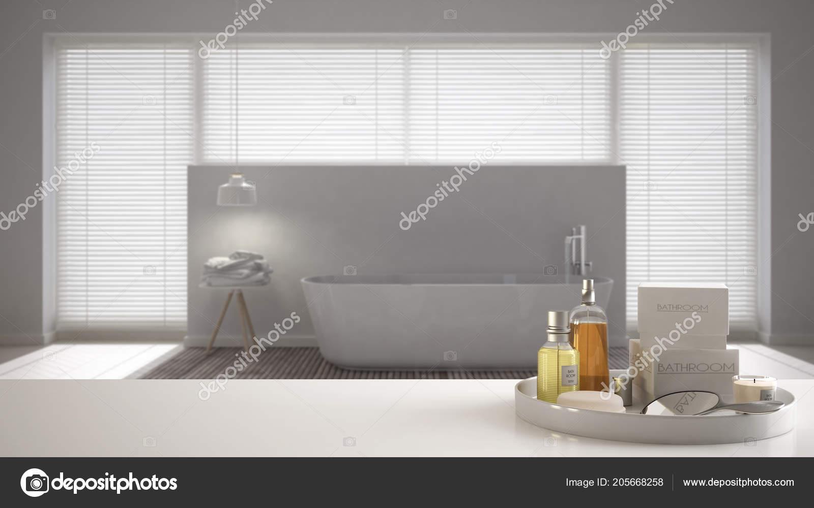 Spa Hotel Bad Konzept Weiße Tischplatte Oder Regal Bade ...
