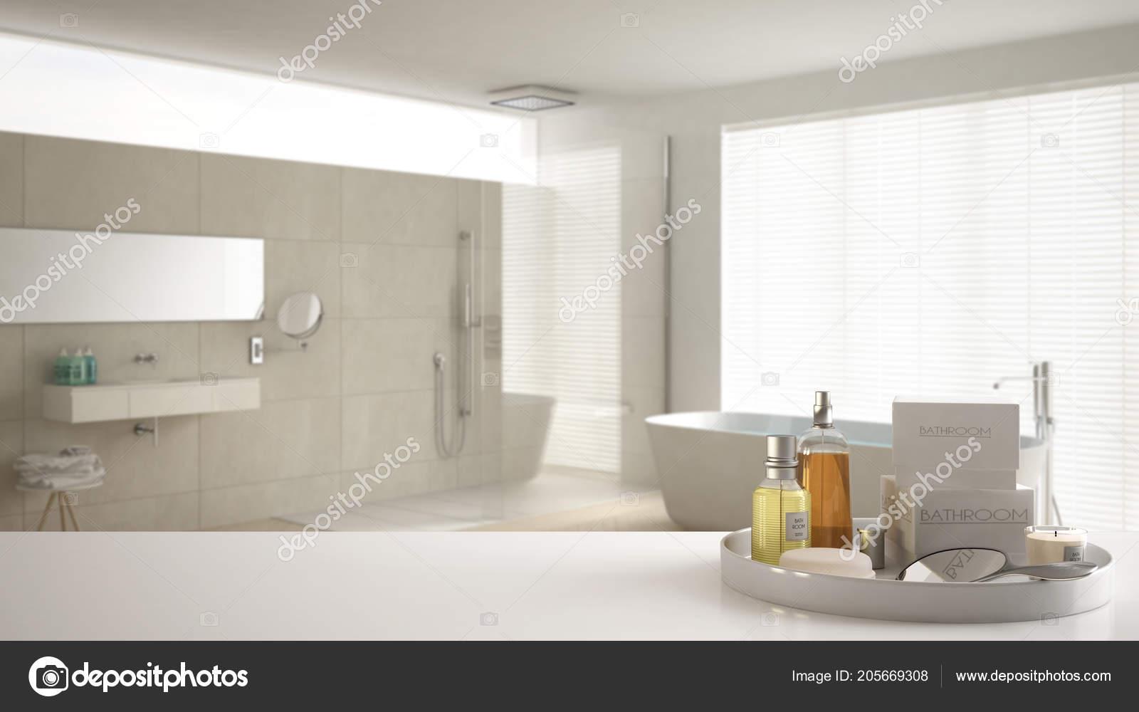 Spa Hotel Bad Konzept Weisse Tischplatte Oder Regal Bade Accessoires