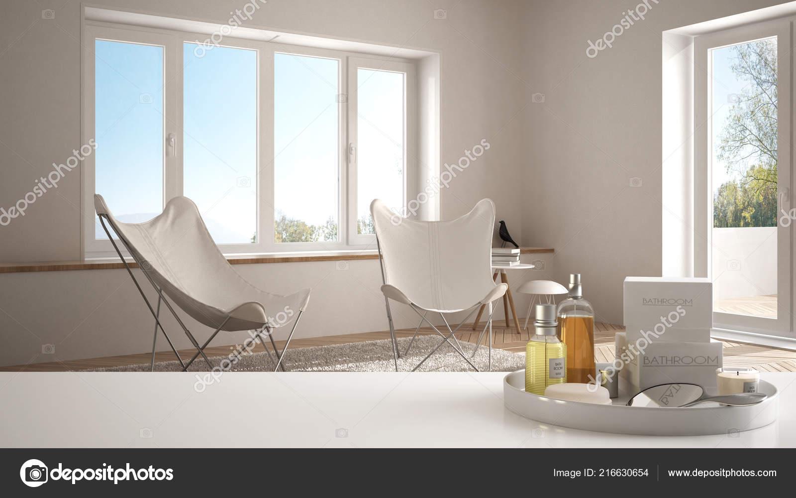 Spa hotelconcept witte tafelblad plank met accessoires zeep