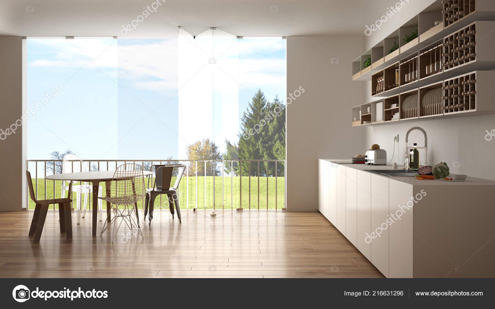 Minimaliste Blanche Bois Cuisine Avec Table Manger Grande Fenêtre