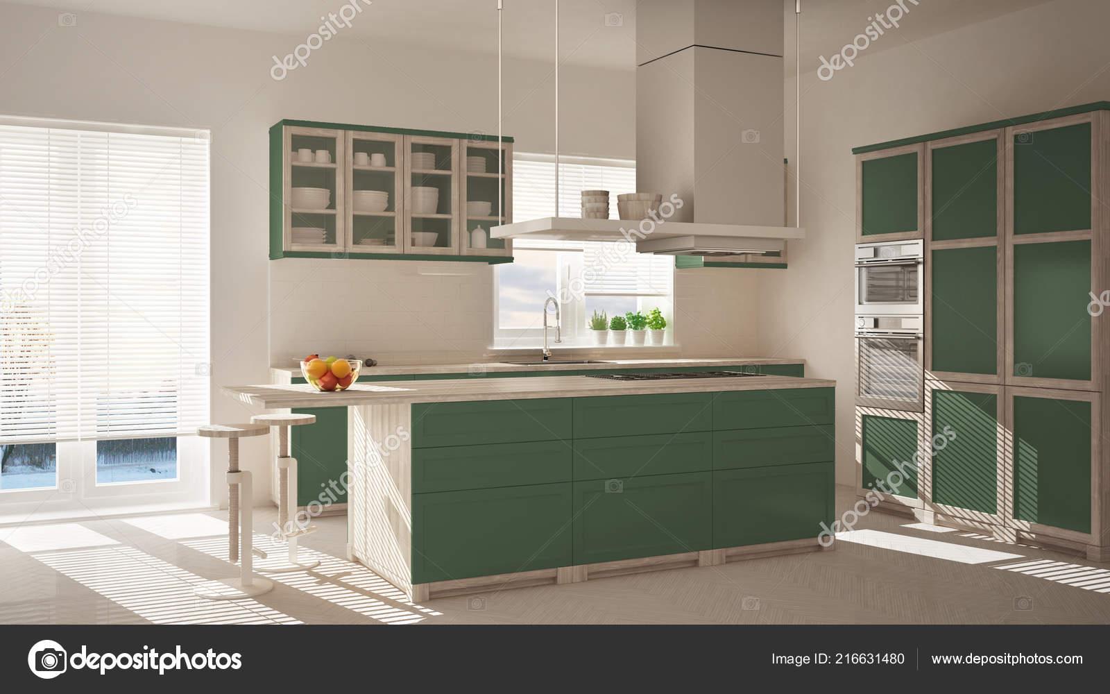 Cucina moderna legno verde isola sgabelli finestre pavimento