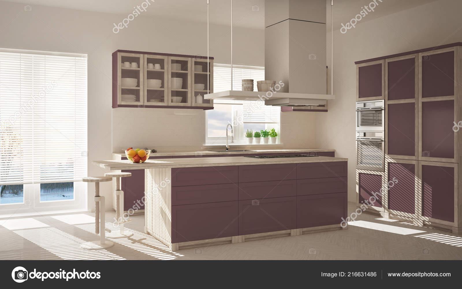Cucina Moderna Legno Rossa Porpora Con Isola Sgabelli ...