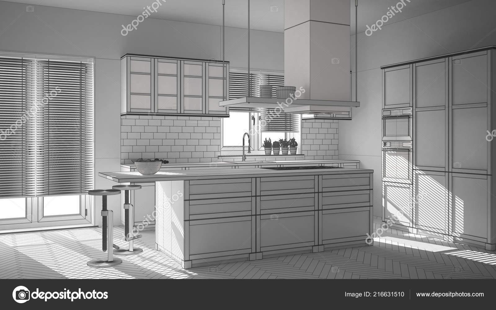 Sgabelli Cucina Legno Bianco : Progetto incompiuto cucina moderna legno bianco con isola sgabelli