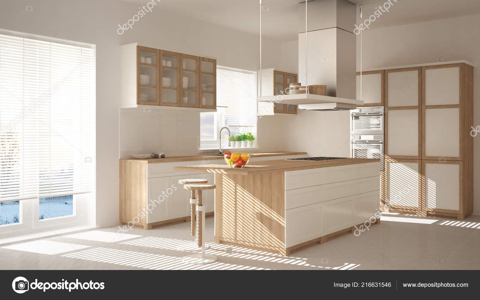 moderne holz und wei e k che mit insel hocker und windows stockfoto archiviz 216631546. Black Bedroom Furniture Sets. Home Design Ideas