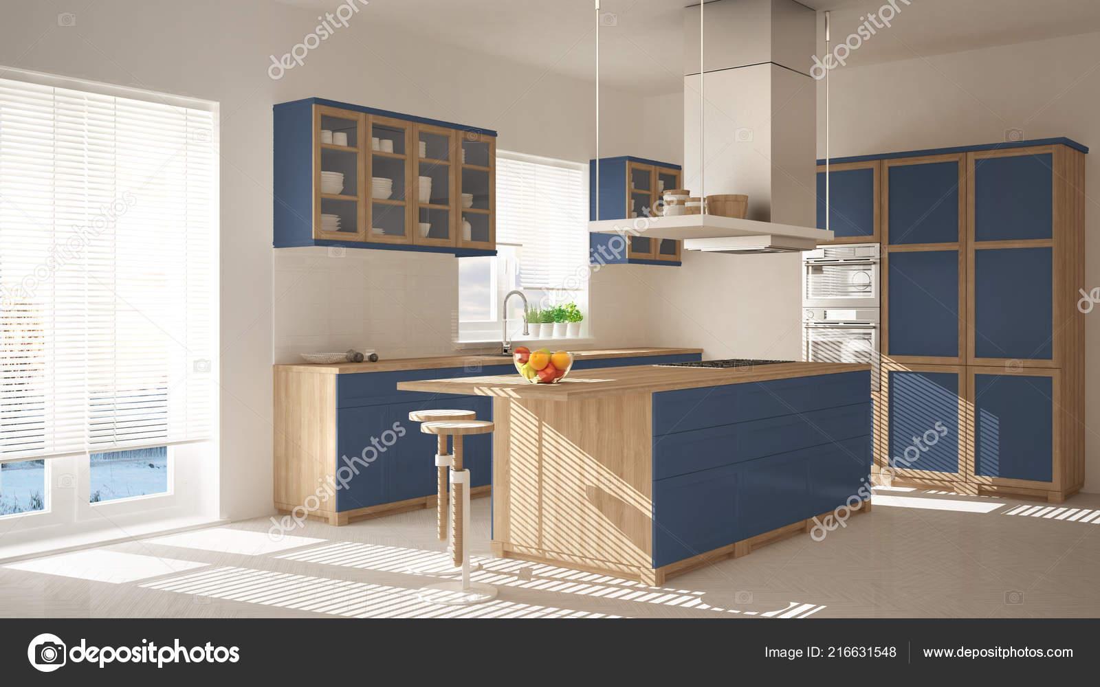 Cucina moderna legno blu con isola sgabelli finestre pavimento