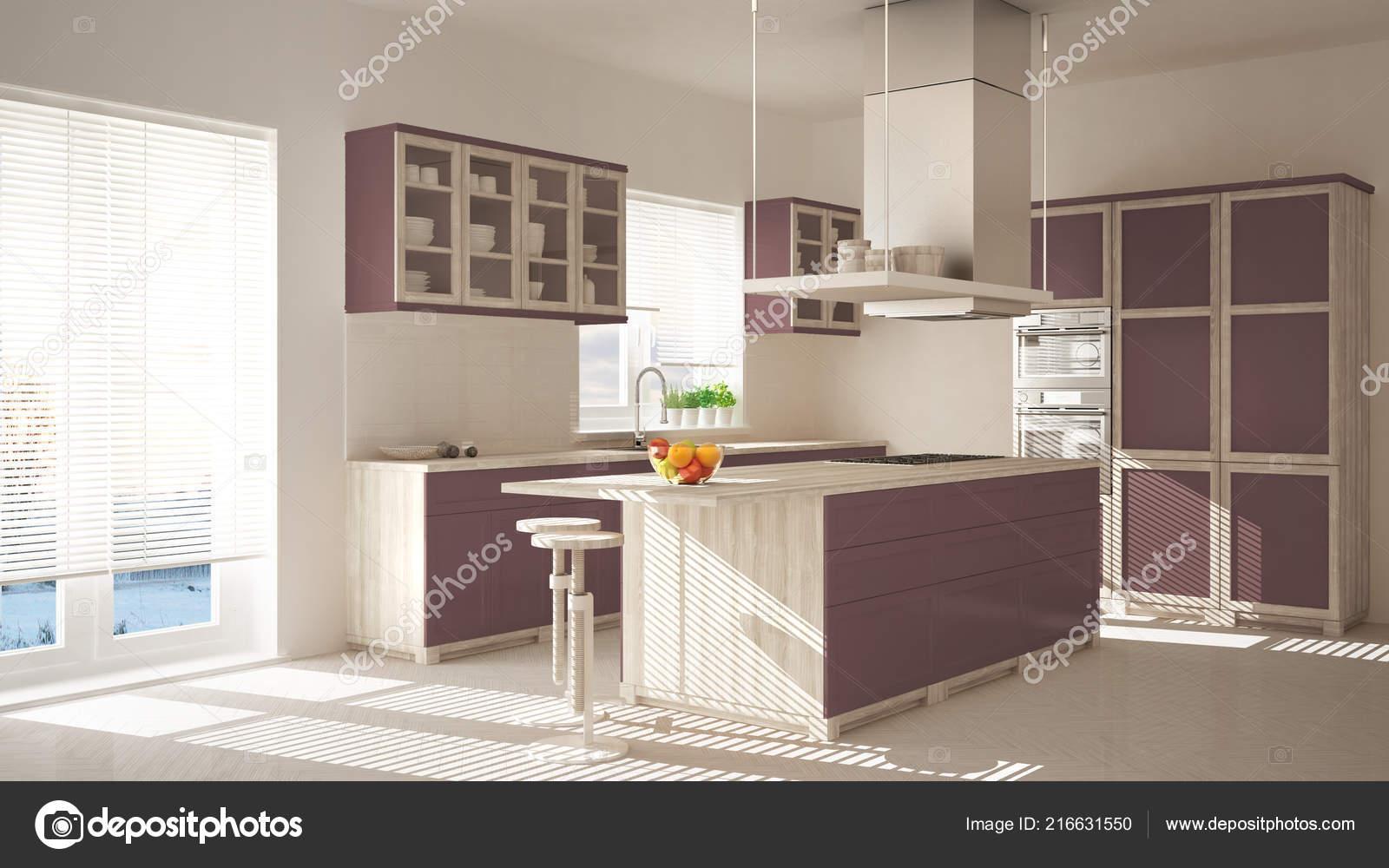 Cucina moderna legno rossa porpora con isola sgabelli finestre