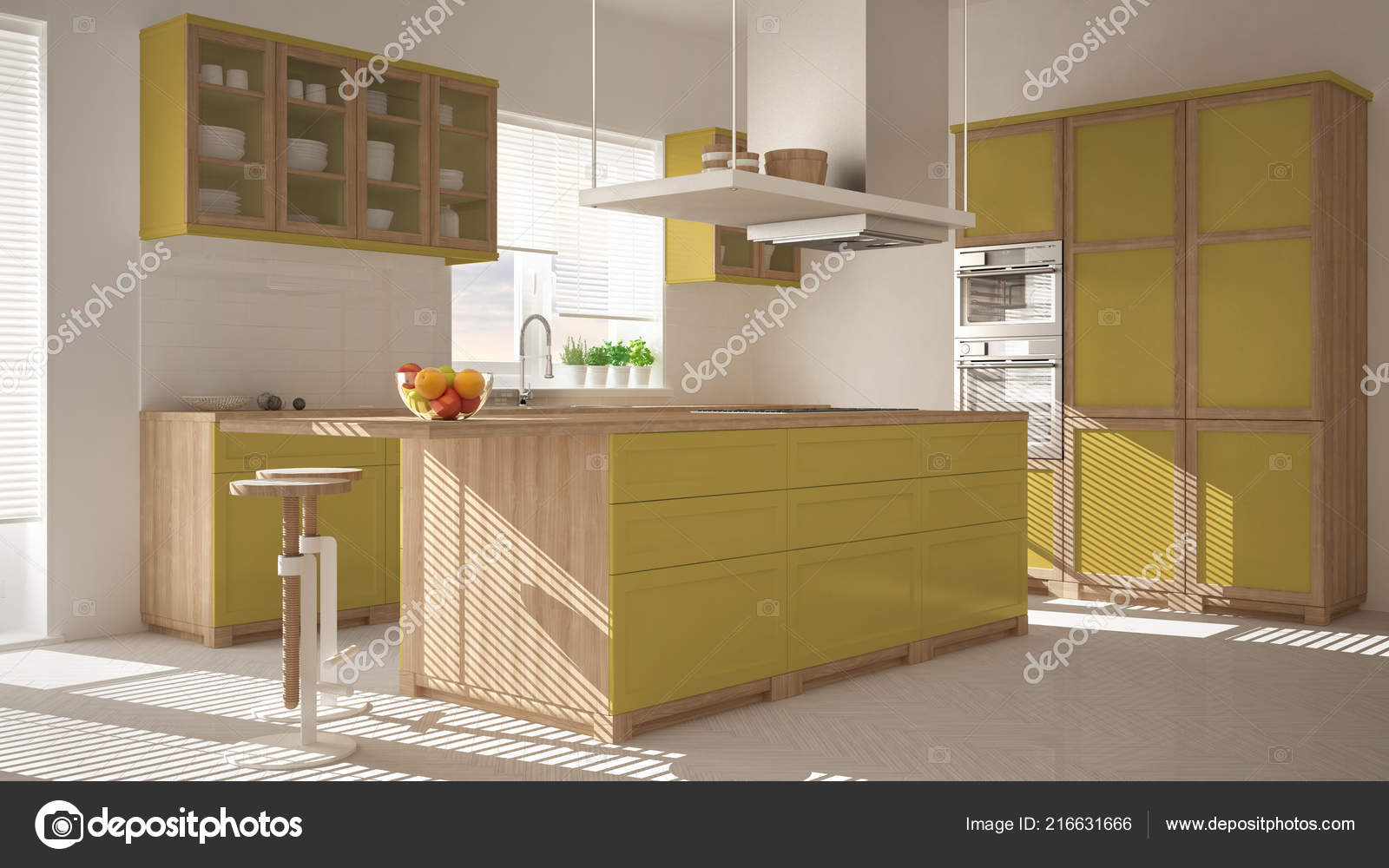 Cucina moderna legno giallo con isola sgabelli finestre pavimento
