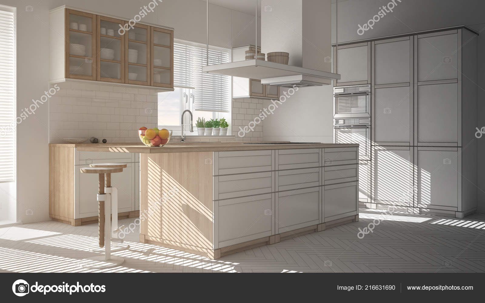 Progetto incompiuto cucina moderna legno bianco con isola sgabelli