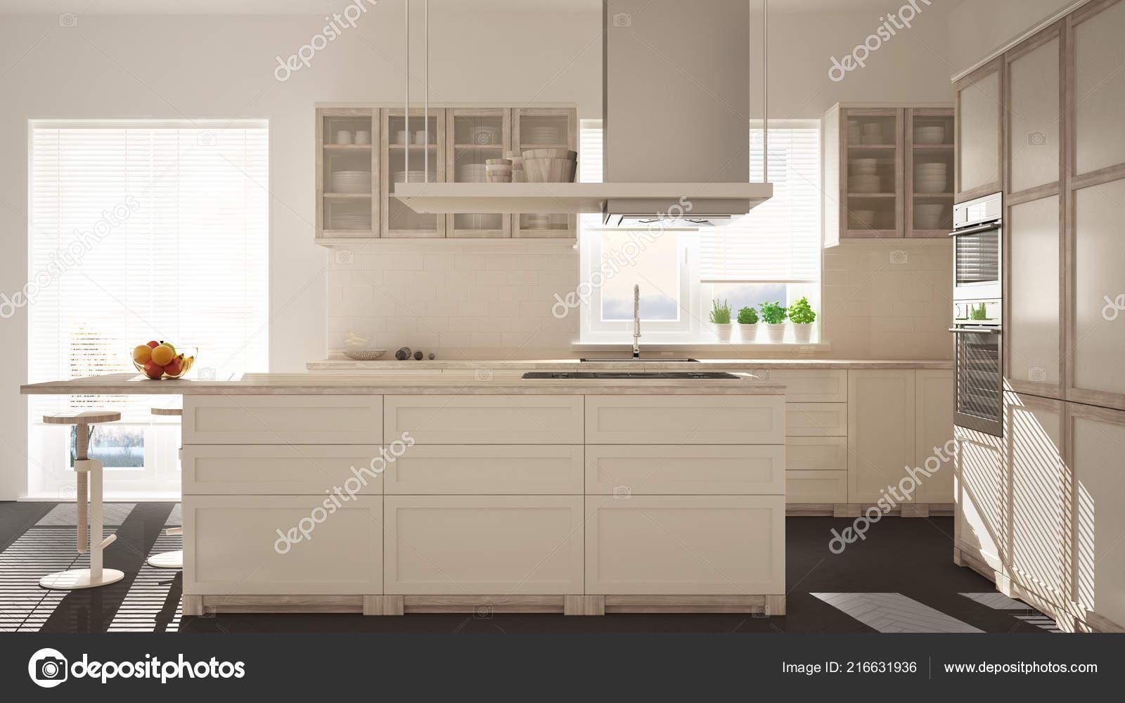 Cucina moderna legno bianco con isola sgabelli finestre pavimento