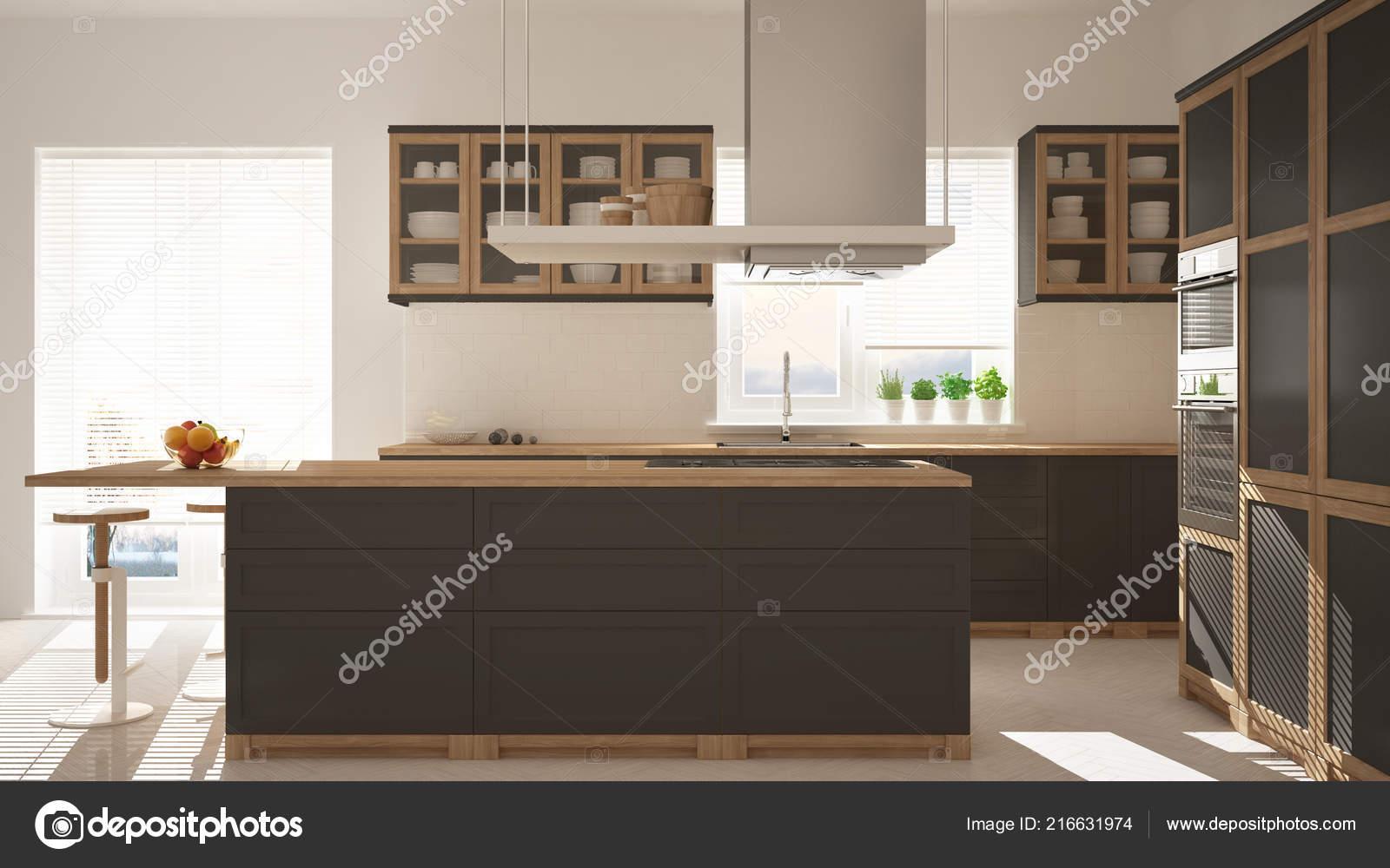 Cucina moderna legno grigio con isola sgabelli finestre pavimento