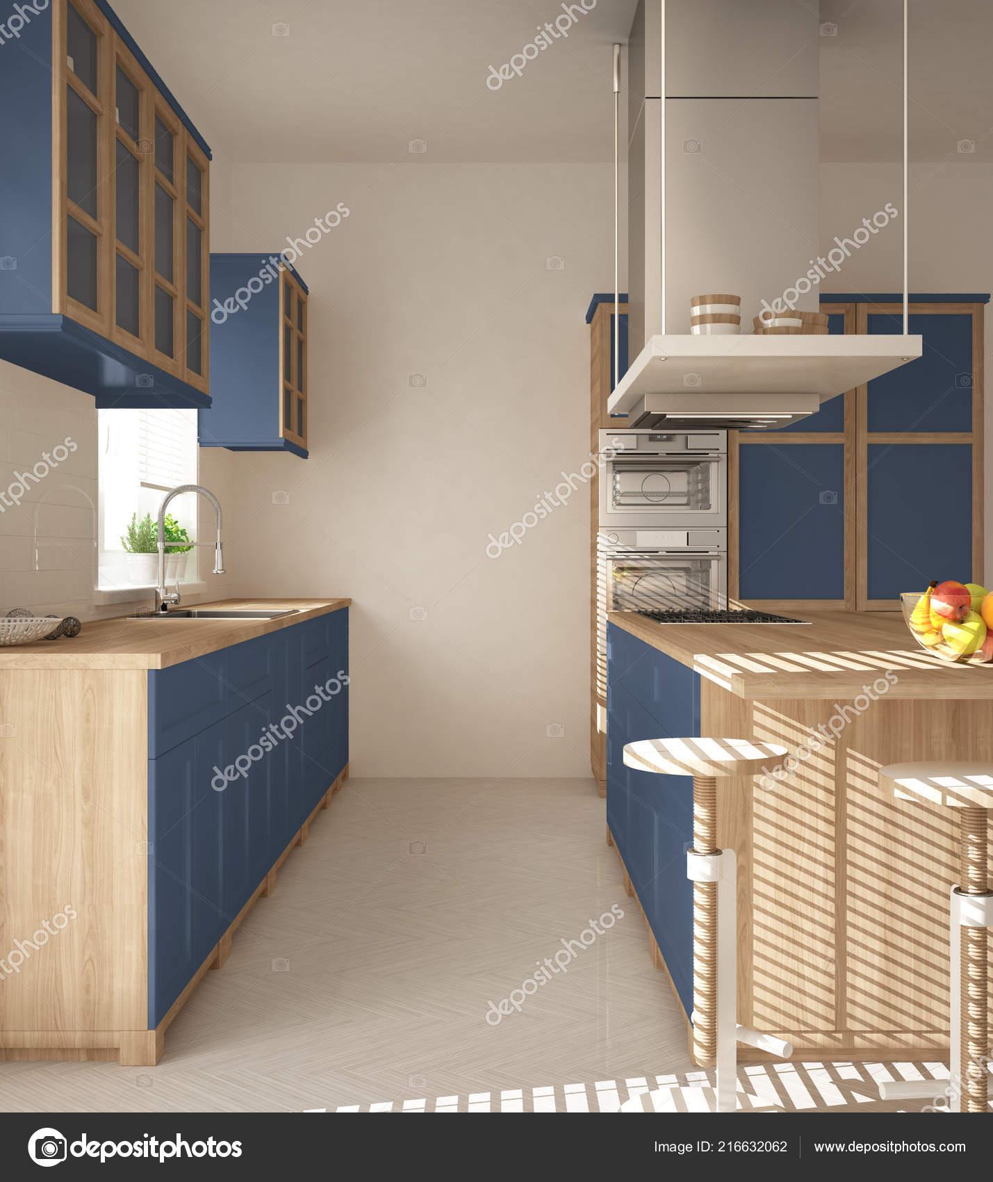 Moderne Holz Und Blaue Küche Mit Insel Hocker Und Windows ...