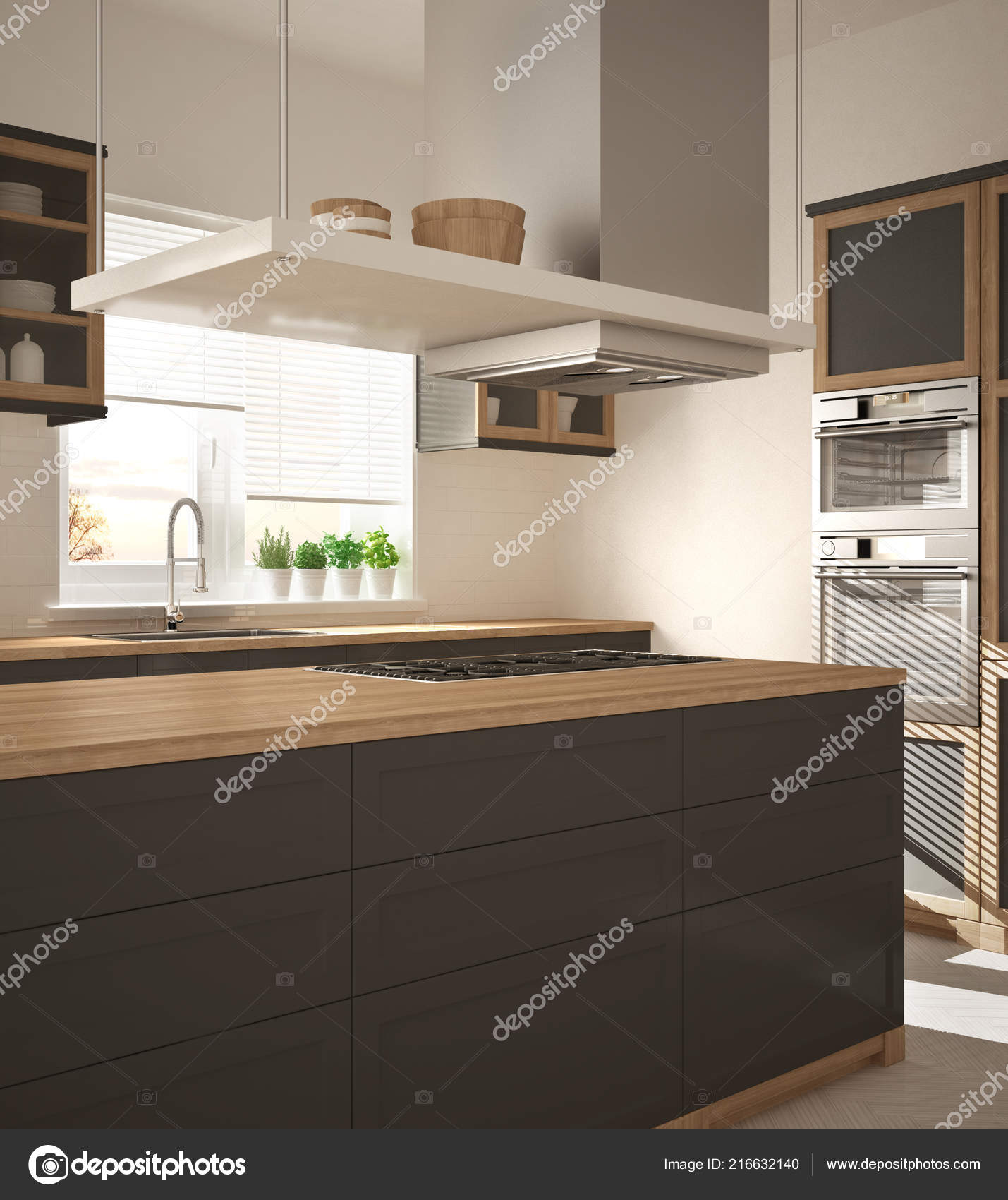 Modern Wooden Gray Kitchen Island Gas Stove Sink Parquet
