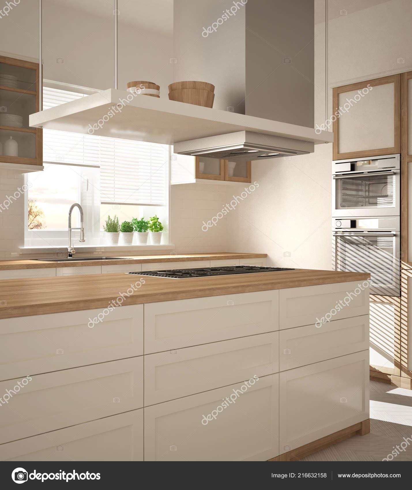 Moderne Holz Und Weiße Küche Mit Insel Gasherd Und Spüle — Stockfoto ...