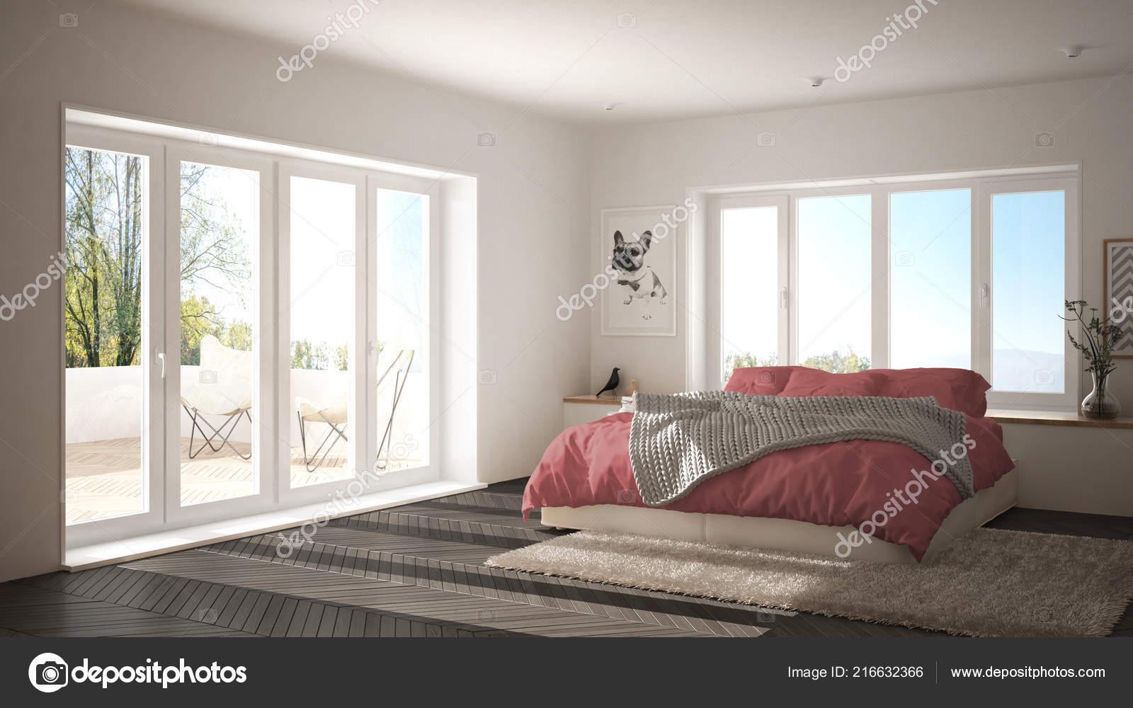 Scandinave Chambre Minimaliste Blanche Rose Avec Fenêtre ...