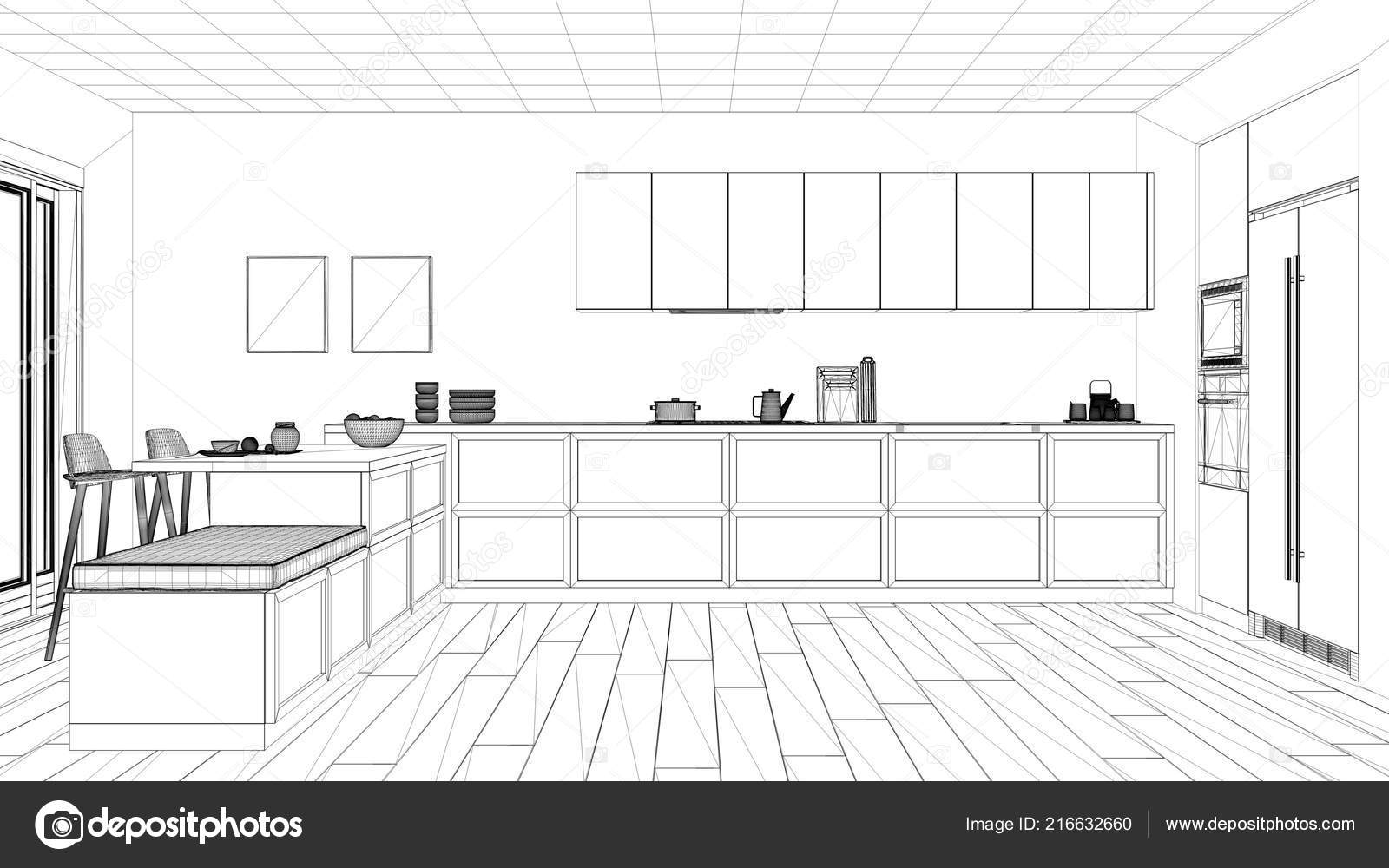 Interior Design Project Black White Ink Sketch Architecture Blueprint Showing u2014 Stock Photo  sc 1 st  Depositphotos & Interior Design Project Black White Ink Sketch Architecture ...