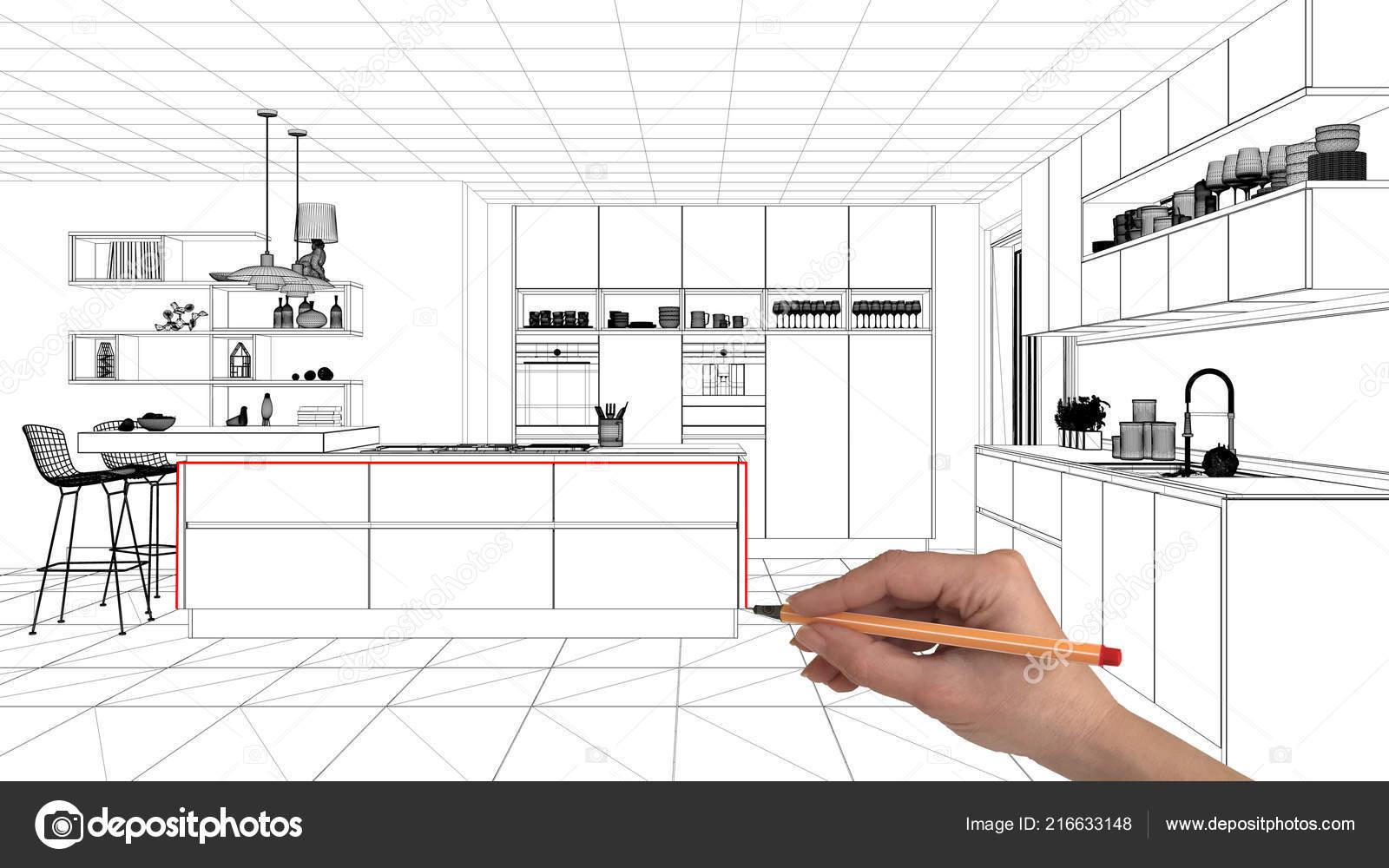 Interior Design Project Concept Hand Drawing Custom Architecture Black White Stock Photo C Archiviz 216633148