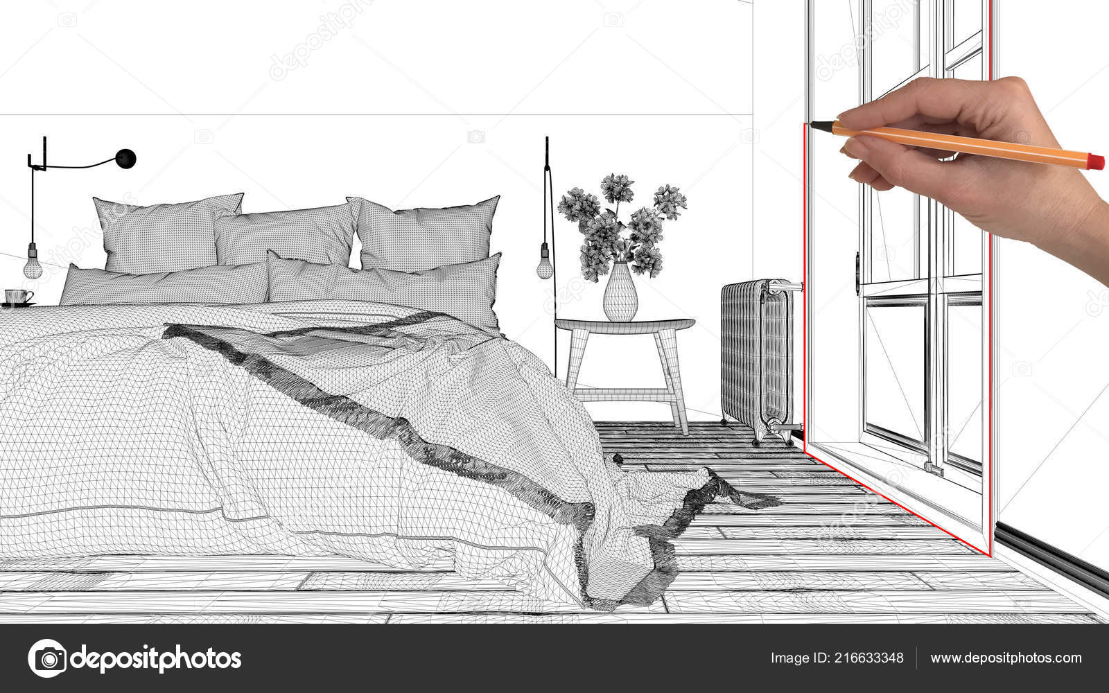 Interior Design Project Concept Hand Drawing Custom Architecture Black White Stock Photo C Archiviz 216633348