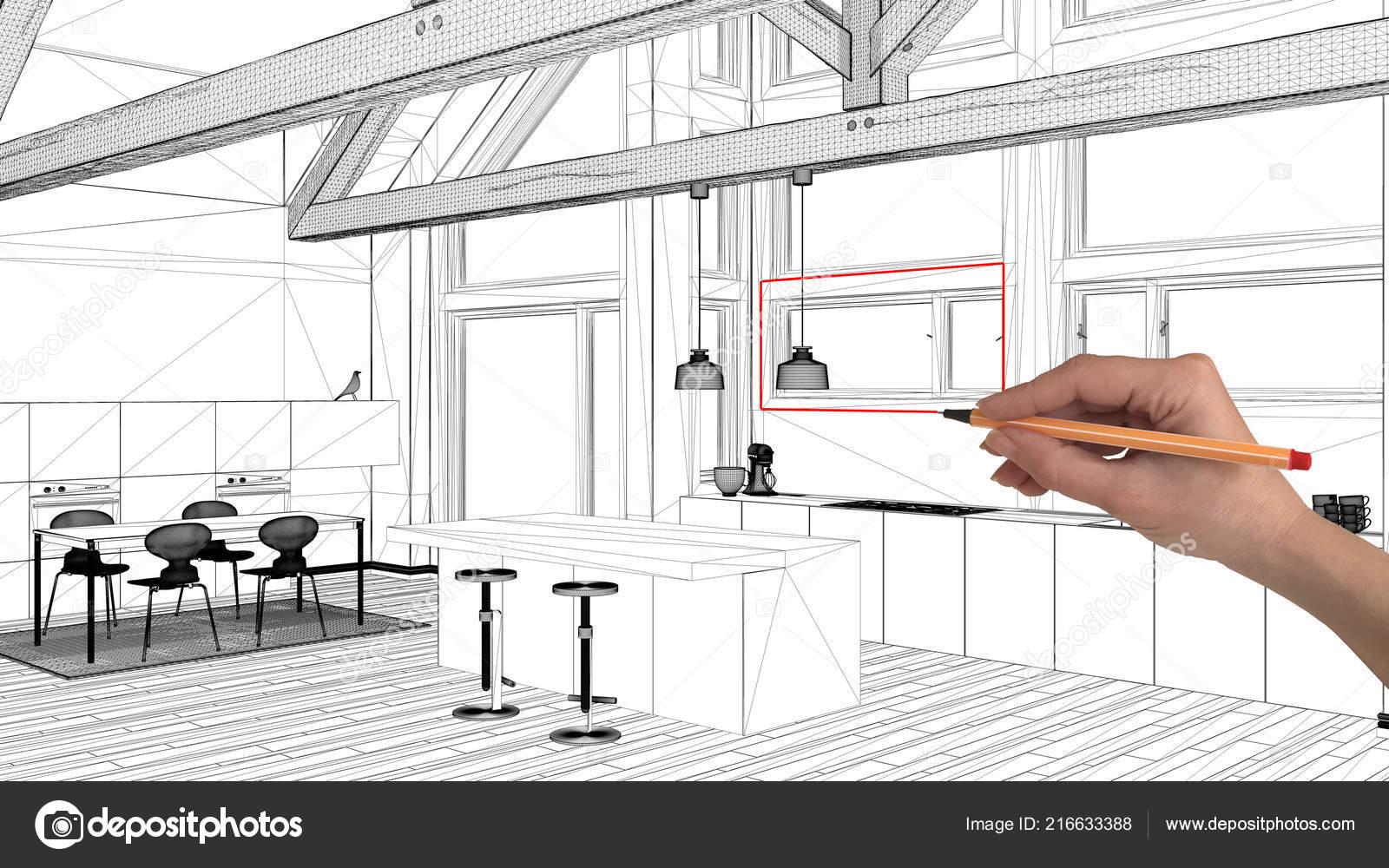 Interior Design Project Concept Hand Drawing Custom Architecture Black White Stock Photo C Archiviz 216633388