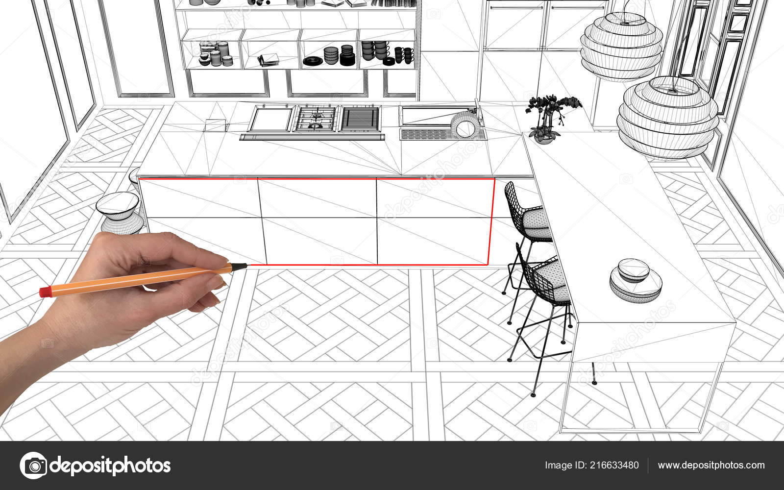Interior Design Project Concept Hand Drawing Custom Architecture Black White Stock Photo C Archiviz 216633480